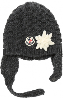 Шерстяная шапка фактурной вязки с декором Moncler Enfant
