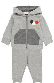 Спортивный костюм из хлопка с аппликациями Moncler Enfant