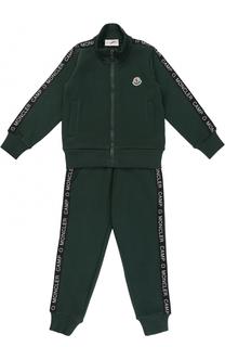 Спортивный костюм из хлопка с контрастной отделкой Moncler Enfant