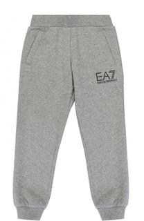 Спортивные брюки из хлопка с логотипом бренда Ea 7