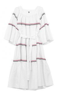 Хлопковое платье-макси с поясом Lisa Marie Fernandez
