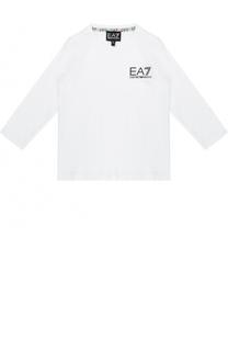 Хлопковый лонгслив с логотипом бренда Ea 7