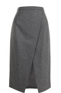 Шерстяная юбка-миди с высоким разрезом Michael Kors