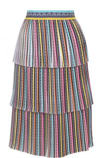 Многоярусная плиссированная юбка-миди Mary Katrantzou