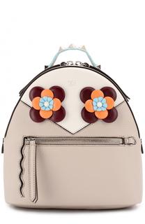 Кожаный рюкзак с цветочной аппликацией Fendi