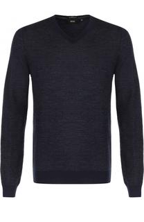 Шерстяной пуловер с V-образным вырезом BOSS