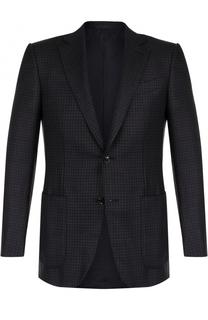 Шерстяной однобортный пиджак с принтом Ermenegildo Zegna
