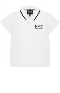 Хлопковое поло с логотипом бренда Ea 7