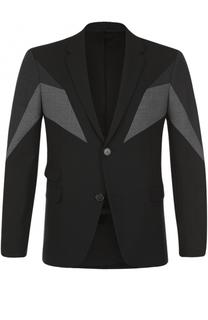 Однобортный пиджак с контрастной отделкой Neil Barrett
