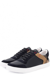 Комбинированные кеды на шнуровке Burberry