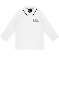Хлопковое поло с логотипом бренда и длинными рукавами Ea 7