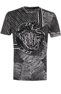 Хлопковая футболка с принтом Versace