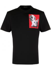 Хлопковая футболка с аппликацией Versace
