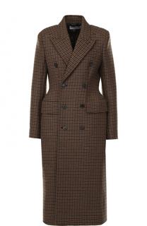 Двубортное приталенное пальто с принтом гусиная лапка Balenciaga