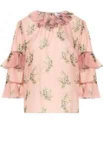 Блуза с оборками и цветочным принтом Blugirl
