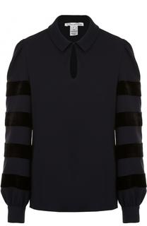 Шелковая блуза прямого кроя с отложным воротником Oscar de la Renta