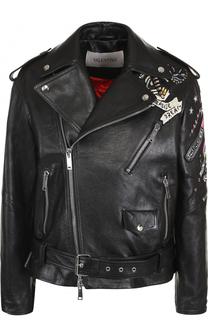 Кожаная куртка с косой молнией и декоративной отделкой Valentino