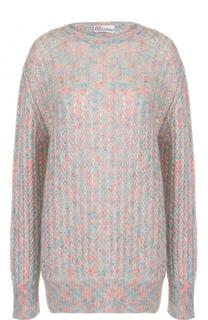 Удлиненный пуловер фактурной вязки REDVALENTINO