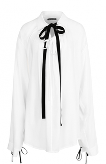 Приталенная блуза с контрастным воротником аскот Ann Demeulemeester