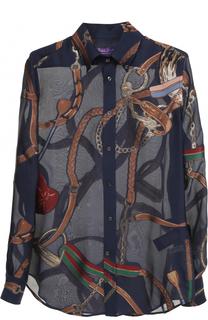 Шелковая полупрозрачная блуза с принтом Ralph Lauren