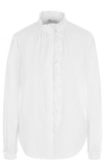 Хлопковая блуза с воротником-стойкой и оборками REDVALENTINO