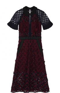 Кружевное платье-миди с укороченным рукавом self-portrait