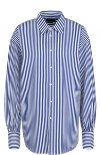 Хлопковая блуза свободного кроя в полоску Polo Ralph Lauren
