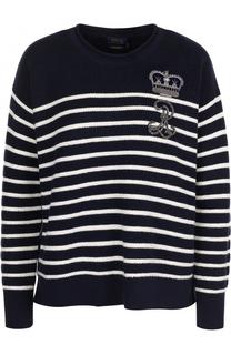 Шерстяной пуловер свободного кроя в полоску Polo Ralph Lauren