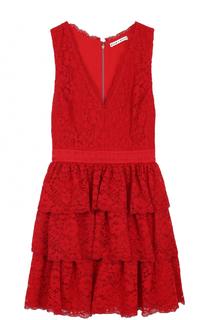 Кружевное мини-платье с многоярусной юбкой Alice + Olivia