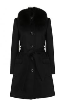 Приталенное шерстяное пальто с отделкой из меха лисы MICHAEL Michael Kors