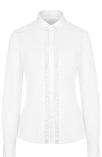 Приталенная хлопковая блуза с кружевной вставкой BOSS