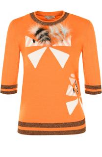 Шерстяной пуловер с укороченным рукавом и отделкой из меха лисы Fendi