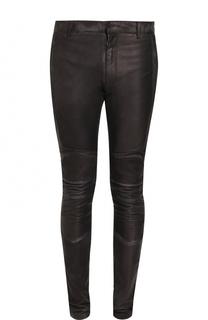 Кожаные зауженные брюки Balmain