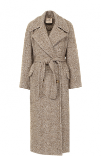 Пальто с широкими лацканами и поясом Erika Cavallini