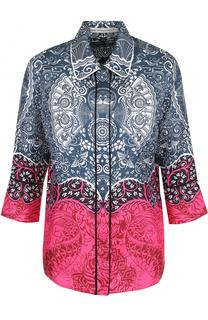Шелковая блуза с принтом и укороченным рукавом Mary Katrantzou
