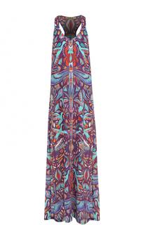 Шелковое платье-макси с принтом Lazul