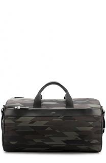 Текстильная дорожная сумка с кожаной отделкой HUGO