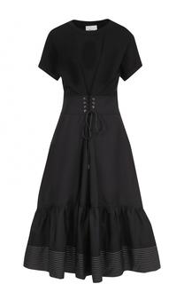Хлопковое приталенное платье-миди 3.1 Phillip Lim