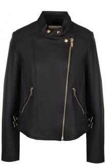 Кожаная куртка свободного кроя с косой молнией MICHAEL Michael Kors