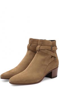 Замшевые ботинки Rock на устойчивом каблуке Saint Laurent