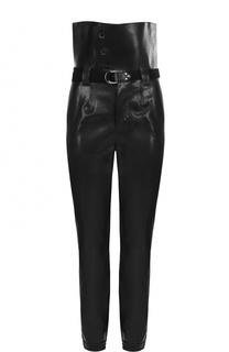 Кожаные брюки с завышенной талией и поясом Saint Laurent