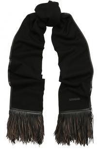 Кашемировый шарф с кожаной отделкой Elie Saab
