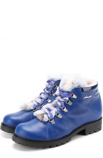 Кожаные ботинки с контрастной шнуровкой и меховой отделкой Simonetta