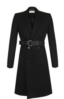 Шерстяное двубортное пальто с поясом Saint Laurent