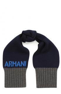 Вязаный шарф с контрастной отделкой Armani Junior