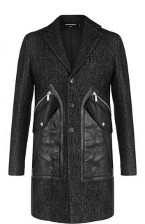 Однобортное пальто с кожаной отделкой Dsquared2