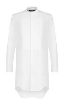 Хлопковая рубашка свободного кроя с воротником-стойкой Dsquared2