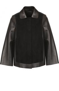 Кожаная куртка свободного кроя с замшевой отделкой Giorgio Armani