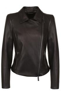 Приталенная кожаная куртка с отложным воротником Giorgio Armani