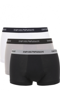Комплект из трех хлопковых боксеров с эластичной резинкой Emporio Armani